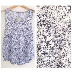 Athleta Tank Blue White Splatter Dot Cut Out Back